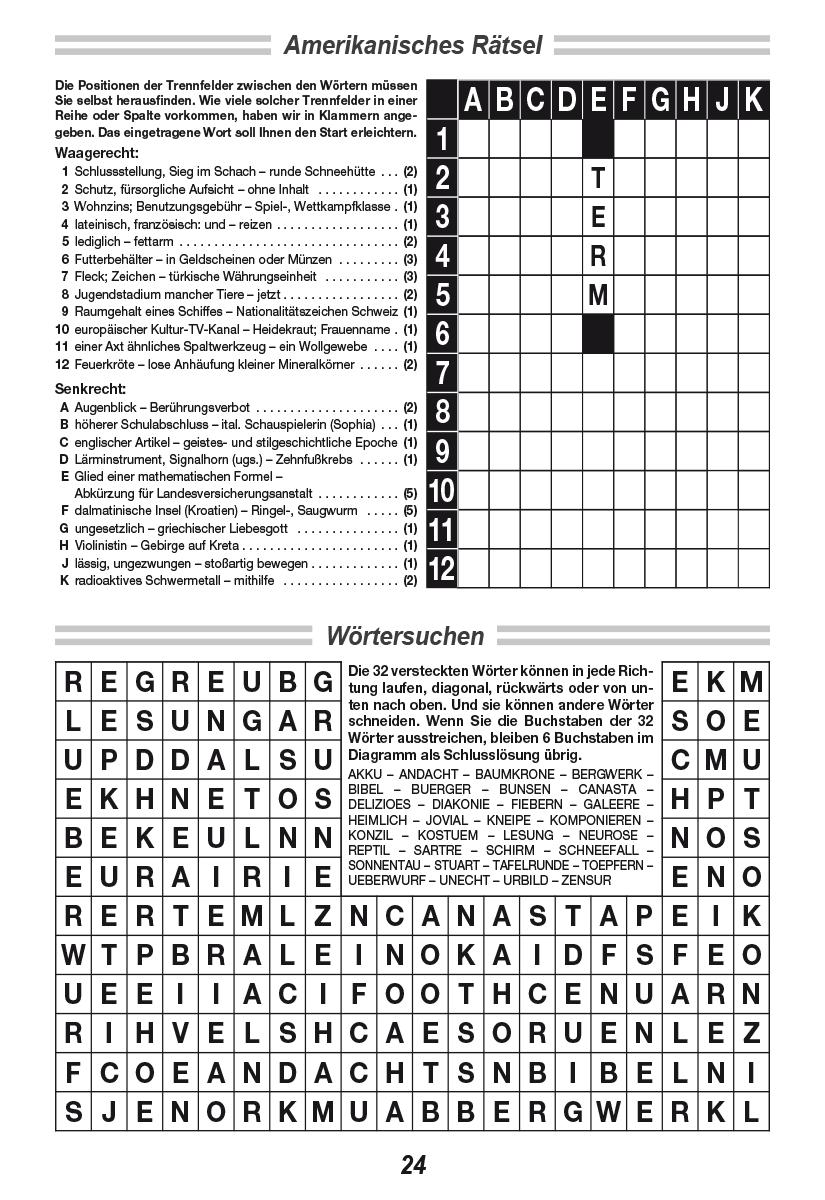 Kreuzworträtsel Sudoku Und Denksport Raetselkrueger